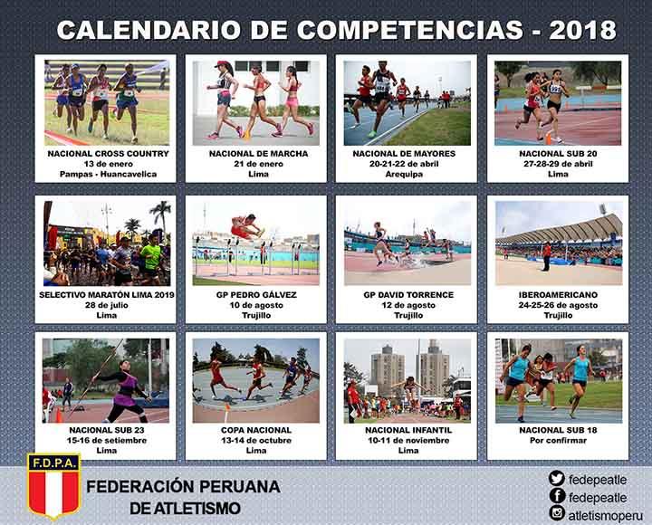 Calendario Atletismo 2018